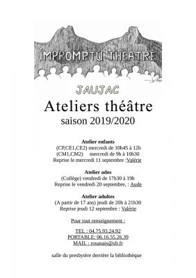 Reprise des ateliers théâtre